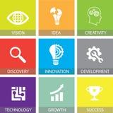 Innovation i plana symboler för affärsidé vektor illustrationer