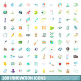 100 innovation icons set, cartoon style Royalty Free Stock Photo