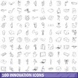 100 innovation icons set, outline style Royalty Free Stock Images