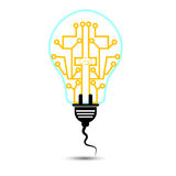 Innovation idea concept with bulb and plug stock  Royalty Free Stock Images