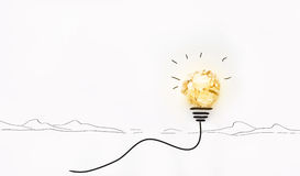 Innovation and idea with paper ball, lightbulb symbol, creative Royalty Free Stock Photography