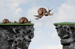 Innovation Leadership Philosophy. As a business motivation with change idea as a snail jumping over a cliff with 3D illustration elements Royalty Free Stock Images