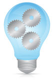Innovation Light Bulb. A light bulb illustrating innovation and thinking through the use of gears Royalty Free Stock Photo
