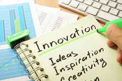 Innovation with list Ideas, Inspiration, Creativity. Stock Photo