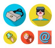 Innovation, man, head, hand .Virtual reality set collection icons in flat style vector symbol stock illustration web. Innovation, man, head, hand .Virtual vector illustration