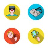 Innovation, man, head, hand .Virtual reality set collection icons in flat style vector symbol stock illustration web. Innovation, man, head, hand .Virtual royalty free illustration