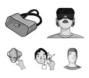 Innovation, man, head, hand .Virtual reality set collection icons in monochrome style vector symbol stock illustration.  royalty free illustration