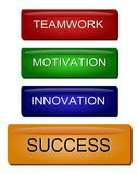 Innovation Motivation Success. Illustration of a concept regarding project management, teamwork, inovation, motivation and success Royalty Free Stock Photos
