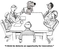 Innovation Opportunity. Business cartoon about innovation. The business dog picks up on an opportunity for innovation stock illustration