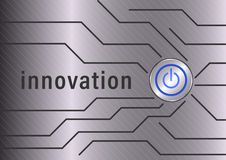 Innovation. Power button and polygonal line on metal background stock illustration