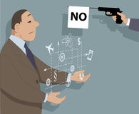 Innovation and rejection. A person showing a virtual modal of a proposal, a prop gun with a flag saying no sticking to his face, vector illustration, no Stock Image