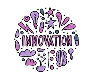 Innovation concept in doodle style. Vector design. stock illustration