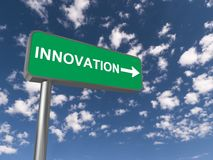 Innovation sign. With an arrow, blue sky and clouds in the background Royalty Free Stock Photography