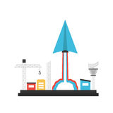 Innovation startup. Paper plane launch to sky from base, innovation concept, on white background vector illustration