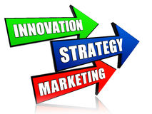 Innovation, strategy and marketing in arrows Stock Images