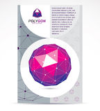 Innovation technologies company presentation flyer. Graphic vect. Or illustration. Colorful abstract 3d mesh object, design element technology low poly template Stock Images