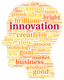 Innovation and technology concept  in tag cloud Royalty Free Stock Photo