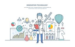 Innovation technology. Introduction of research solutions, scientific works, creative thinking. Innovation technology. Introduction of research solutions vector illustration