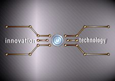 Innovation technology. Power button and polygonal line on metal background stock illustration