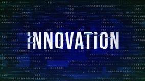 Innovation - tekniskt felmodeord med binärt i bakgrunden royaltyfri foto
