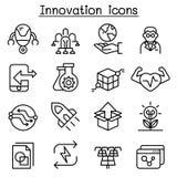 Innovation- & teknologisymbolsuppsättning i den tunna linjen stil stock illustrationer