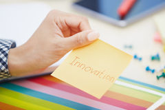 Innovation text on adhesive note Stock Images