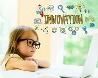 Innovation text with little girl Royalty Free Stock Photos