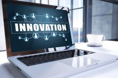 Innovation. Text on modern laptop screen in office environment. 3D render illustration business text concept Royalty Free Stock Image