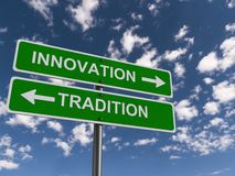 Innovation and tradition heading. Innovation and tradition signs going in opposite directions royalty free stock photography