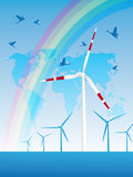 Innovation turbines. Renewable energy concept, with wind turbines Royalty Free Stock Image