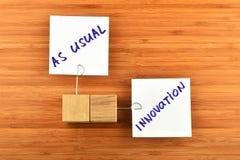 Innovation två pappers- anmärkningar med trähållare på trä Royaltyfria Bilder