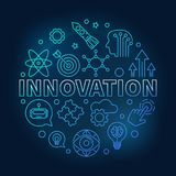 Innovation vector round blue linear illustration. Innovation vector round blue illustration made of innovations icons in outline style on dark background vector illustration