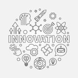 Innovation vector round concept linear illustration. Innovation vector round concept illustration made of innovations icons in thin line style royalty free illustration