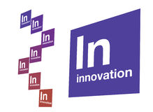 Innovation white. Graphic composition of Innovation featured as an element of the periodic table Stock Image