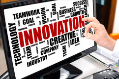 Innovation word cloud concept on a computer monitor Stock Photo