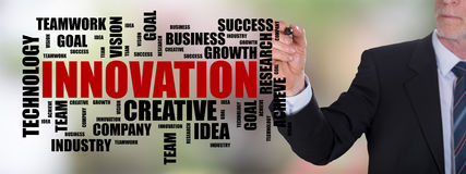 Innovation word cloud concept drawn by a businessman Stock Photo