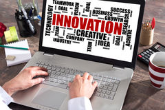 Innovation word cloud concept on a laptop screen. Innovation word cloud concept shown on a laptop screen royalty free stock image