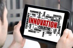 Innovation word cloud concept on a tablet Stock Photos