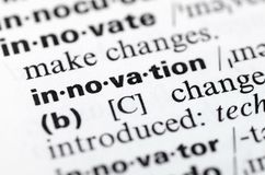 Dictionary definition of word innovation, close-up stock photography