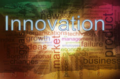 Innovation wordcloud. Illustration of innovation wordcloud. Concept of creativity and innovation Stock Image