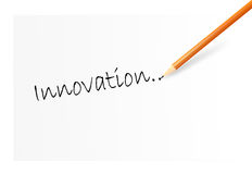Innovation. Writing word innovation on the white paper Stock Image