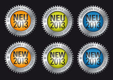 Innovation of the year 2013. Advertisment buttons promoting the innovation of the year 2013 in english and german language vector illustration