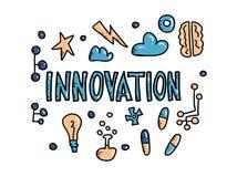 Innovationbegrepp i klotterstil för designeps för 10 bakgrund vektor för tech vektor illustrationer