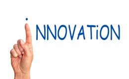 Innovationbegrepp - kvinnlig hand med blå text royaltyfri fotografi
