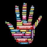 Innovationhandbegrepp Arkivbild