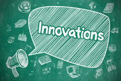 Innovations - Doodle Illustration on Blue Chalkboard. Stock Images