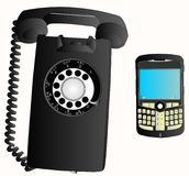 Innovations -Phone changes over 50 years... Royalty Free Stock Photo