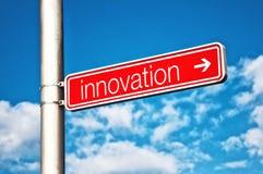 Innovations-Straßenschild Stockfotos
