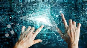 Innovations systems connecting people and intelligence devices. Futuristic technology networking and data exchanges connection and computer industry from royalty free stock image