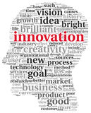 Innovations- und Technologiekonzept in der Markenwolke Lizenzfreie Stockfotografie